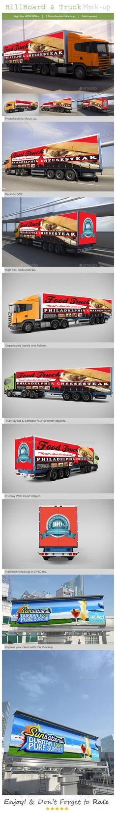 Billboard and Truck Mock-Up  #print #4000x2400 • Click here to download ! http://graphicriver.net/item/billboard-and-truck-mockup/5310583?ref=pxcr