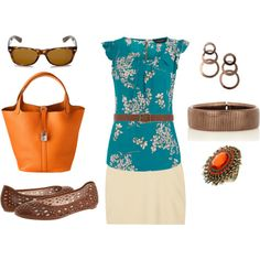 Casual outfit with pops of orange....with teal/turq- love!