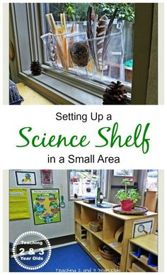 Setting up a preschool science center in a small space - ideas work for home or a classroom Short on space? Come see how we set up our preschool science area using a small area on top of a bookshelf! Science Area Preschool, Science Table, Preschool Rooms, Preschool Centers, Kindergarten Science, Science Classroom, Teaching Science, Science For Kids, Learning Centers