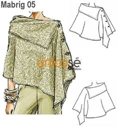 great poncho - no pattern but I think it would be easy to figure out Diy Clothing, Sewing Clothes, Clothing Patterns, Dress Patterns, Sewing Patterns, Knitting Patterns, Diy Vetement, Creation Couture, Mode Inspiration