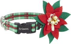 Frisco Patterned Holiday Plaid Dog Collar with Removable Flower, 8 - 12 in - Chewy.com