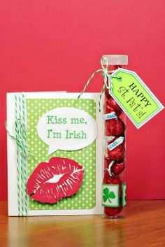 """Love this """"Kiss Me I'm Irish"""" created by Christine Ousley.  She used SRM's St. Patrick's Day stickers for the sentiment and the tag on the tube."""
