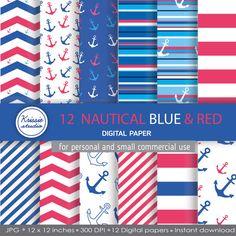SALE 12 Nautical Blue & Red Digital Paper by Krissiestudio