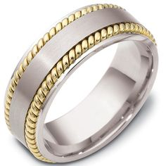 18kt Two Tone Gold Classic, Comfort Fit, 8.0mm Wide Wedding Band.