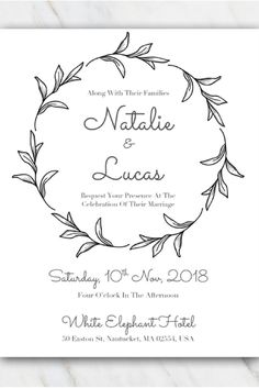 Black & white leaves wedding invitation template that you can download and use for FREE! More free templates at temploola.com #wedding #template #freebies