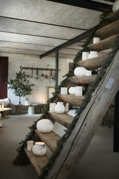 Neat stairs - log cabin look