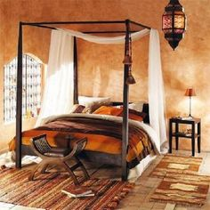 Four-Poster Solid Acacia Wood King Size Bed Goa, Earth Tone Bedroom, African Bedroom, Exotic Bedrooms, African Interior Design, Muebles Art Deco, African Home Decor, Dreams Beds, Affordable Furniture