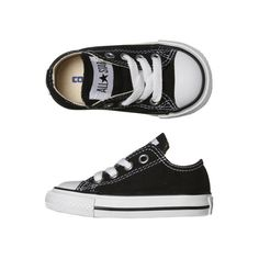 CONVERSE TOTS CHUCK TAYLOR ALL STAR LO SHOE BLACK ($50) ❤ liked on Polyvore