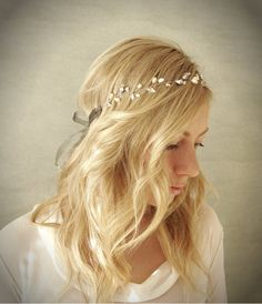 Simple Pearl and Crystal Bridal Hair Vine Halo with Silver Accents. Wedding Hair…