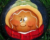 Gingerbread Glass Christmas Ornament Hand Painted