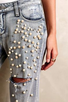 Photo via: Anthropologie Loving the unexpected pearl embellished details of these jeans. Would you wear a pair? Get the look: + Paige Jimmy Embellished Jeans (also here) + Dolce Vita Jacklyn Booties