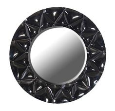 Very modern design round black mirror, with a quilted effect on the frame, diameter 1160 mm.