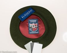 12.5 inch Moss Green Basque Beret, made by Elosegui of Tolosa, Spain.  Available here: http://www.rongreer.net/basque-beret-shop/