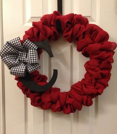 Red Burlap Wreath with Initial