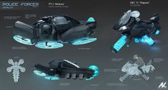 Some hardware used by human police forces: air-speeders for catching up with…