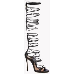 Dsquared2 High-heeled Sandals (£1,160) ❤ liked on Polyvore featuring shoes, sandals, heels, black, black sandals, snake skin shoes, leather sole sandals, heeled sandals and snakeskin shoes
