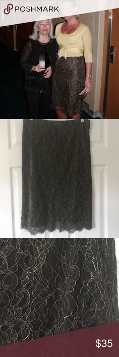 Stunning brown and gold lace skirt Fully lined, side zip chocolate brown and gold lace skirt with eyelash trim at hem. Top (sweater set) in pic is also available in my closet. Bundle this outfit for huge savings!  Worn only twice, in excellent condition. Banana Republic Skirts