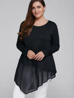 8ca952440c4  7.01 Plus Size Asymmetrical Chiffon Patchwork Blouse Blouses For Women
