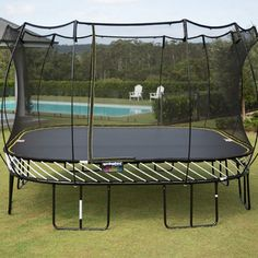 Large Square 155 Our jumbo square trampoline has an energetic bounce for active jumpers. Designed for spacious backyards and everyone from big to small.