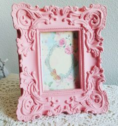 Ornate Pink Photo Frame, Shabby Chic Resin Frame, Pink Chalk Frame, Baby Photo Frame, Cottage Chic Decor by ShabbyChicJCouture on Etsy https://www.etsy.com/listing/456255320/ornate-pink-photo-frame-shabby-chic