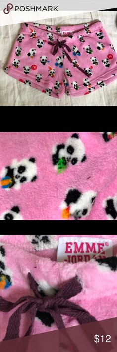 Pink cozy fleece PJ shorts with fun panda print. Sleep like a baby in these cozy fleece PJ shorts. Fun bright pink background with cute panda print. Emme Jordan Intimates & Sleepwear Pajamas