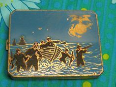 WWII Marine Corps Vintage Ladys Makeup Powder Compact w/ Mirror Enameled PT Boat