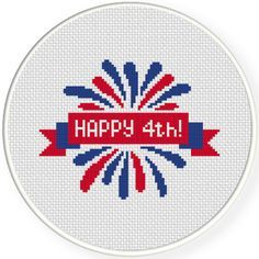 FREE for June 30th 2017 Only - Happy 4th Cross Stitch Pattern