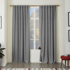 $335 for 6 panels -Heathered Wool Curtain - Gray | west elm