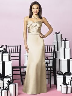 Palomino gold strapless matte satin floor length bridesmaid's dress with ruched top and belt