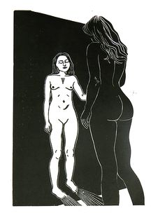 Nude @ the mirror, nude, woman, mirror, linocut, print, hand-pulled, black & white, Ellen Von Wiegand #interiordeco #interiordesign #art #artforsale #wallart