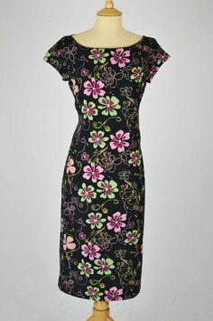 Vintage Dress Black with Pink & Green Floral Design & Button Belt 1960s Dresses, Vintage Dresses, Pink And Green, Dress Black, Floral Design, High Neck Dress, Belt, Button, The Originals