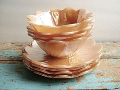 Vintage Fire King Peach Lustre Blossom Dessert Sets  by UpHome