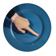 """""""An unusual collection of daily objects: high quality print reproductions on plates of fine porcelain of the art and black humor of Maurizio Cattelan and Pierpaolo Ferrari. Collect them, show them eat"""