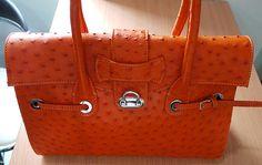 Orange Ostrich Handbag