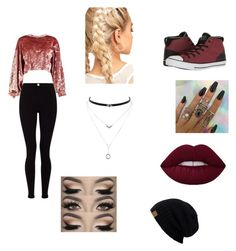 """Another school day"" by princessmarie420 ❤ liked on Polyvore featuring Boohoo, Lipsy, Converse and Jessica Simpson"