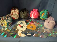 Crafts / What a great way to recycle old CDs, the base for a Drawstring bag!