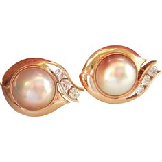 Stunning! 14K Gold Designer Custom Mabe Pearl 1.50 ct. Diamond Earrings Diamond Earrings, Pearl Earrings, Gemstone Rings, Bronze, Product Description, Ruby Lane, Antiques, Silver, Gold