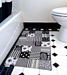 Black And White Bathroom Rug Patchwork Bath Mat Shower Mat Brilliant Black And White Bathroom Rugs Decorating Inspiration