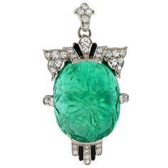 Art Deco Carved Emerald Pendant - TIFFANY   CO.
