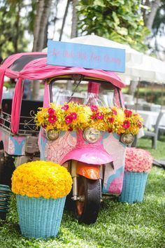 Looking for Cute mehendi decor with floral auto? Browse of latest bridal photos, lehenga & jewelry designs, decor ideas, etc. on WedMeGood Gallery. Mehendi Decor Ideas, Mehndi Decor, Wedding Stage Decorations, Engagement Decorations, Wedding Mandap, Wedding Table, Wedding Receptions, Wedding Ceremony, Online Wedding Planner