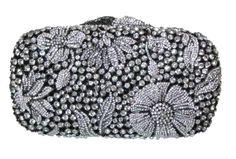 Jeweled Women's Evening Black Clutch Handbag Hard Case Purse Floral Design #NoBrand #Clutch