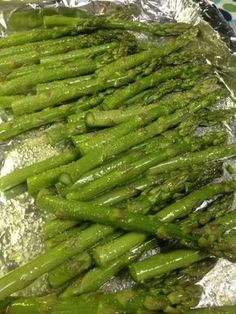 Simple asparagus - tossed with olive oil and garlic salt and baked in oven at 350 degrees for 20 min. FYI, I did try this recipe & it's wonderful, perfect asparagus.
