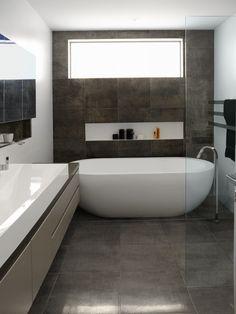 Nice Oval Freestanding Soaker Bathtubs On Grey Tile Floors Also Single Vessel Sink Vanity Bath As Modern Small Space Grey Bathrooms Designs Ideas
