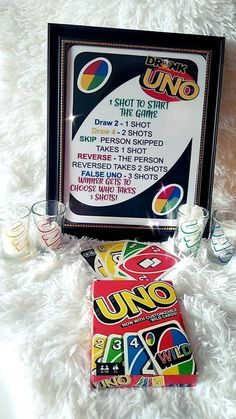 Drunk UNO, Drinking Game, UNO with Shot Glasses, UNO Drink Game with cards - A fun game of UNO with a little twist! This game comes with 4 UNO themed shot glasses, a deck of ca - Uno Drinking Game, Drinking Games For Parties, Drinking Games With Cards, Best Drinking Games, Outdoor Drinking Games, Drinking Board Games, Teen Party Games, Halloween Party Games, Party Games For Adults