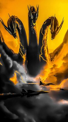 Godzilla - King of the Monsters (Revised): Ghidorah - Monsterverse Greek Monsters, All Godzilla Monsters, Cool Monsters, Godzilla Vs King Ghidorah, King Kong Vs Godzilla, Classic Monster Movies, Classic Monsters, Rukia Bleach, Lion King Pictures