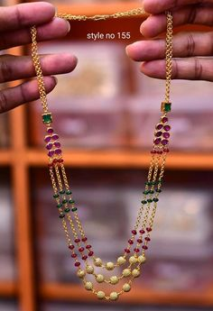 Beautiful one gram gold long haara with multi color beads. 05 October 2019 - Beautiful one gram gold long haara with multi color beads. Gold Chain Design, Gold Jewellery Design, Silver Jewellery, Jewellery Bracelets, Silver Earrings, Gold Necklace, Gold Earrings Designs, Necklace Designs, Gold Jewelry Simple