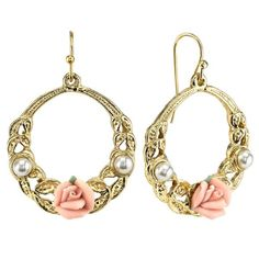Gold-Tone Pink Porcelain Rose and Faux Pearl Accent Hoop Earrings – 1928 Jewelry Company Rose Gold Earrings, Diamond Earrings, Pearl Earrings, Flower Earrings, Rose Gold Jewelry, Leaf Jewelry, Silver Jewellery, Jewelry Companies, Pandora Jewelry