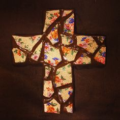 Clay tile mosaic cross w/ dark brown clay made by me