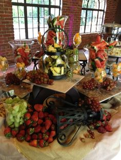 fruit diaplay at a tuscan themed reception