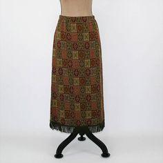 Fall Skirt Medium Knit Skirt Womens Long Skirt Fringe Earth